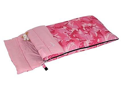 Bertoni Bimbo Junior 150 Saco de Dormir Infantil para Acampada o Casa, Camuflaje Rosa,