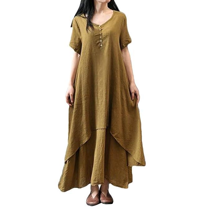 45987c459d DAYLIN Mujer Otoño Vintage Casual Manga Corta Cuello Redondo Algodón Lino  Largo Vestidos