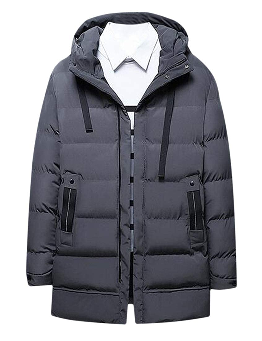Nanquan Men Zipper Winter Slim Warm Thicken Hooded Cotton Jacket Quilted Outerwear