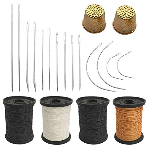 Set of 20 Hand Sewing Needles + Upholstery Thread + Sewing Thimble, TuNan 14pcs Canvas Leather Sewing Needles and 4pcs Nylon Thread Rolls and 2pcs Metal Tailor Finger Protector - 55 Yard/Spool
