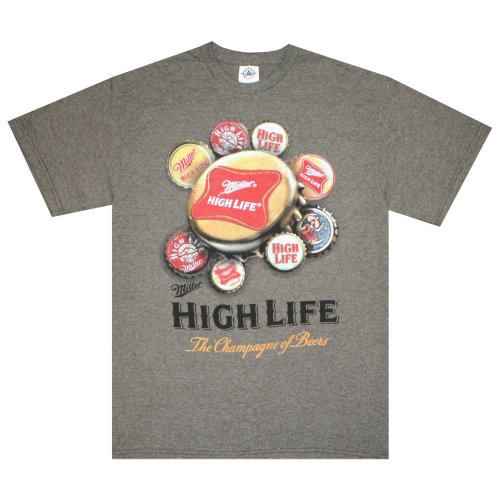 Miller High Life T-Shirt : Brown Caps Comfort - Miller Cap Life High