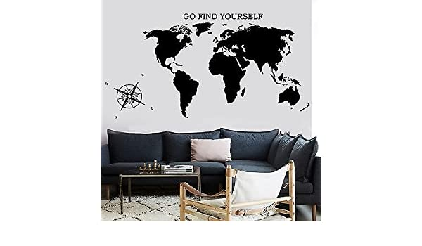 Map Of The World With Compass.Amazon Com Wall Decal Map Of The World Atlas Compass Quote Go Find