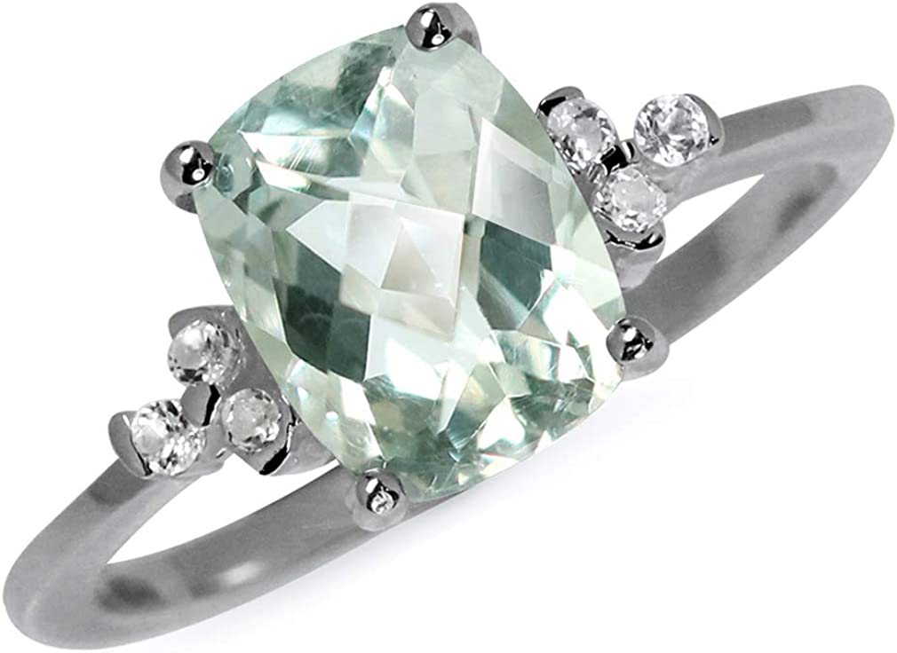 Silvershake 1.95ct. Natural Green Amethyst and White Topaz 925 Sterling Silver Engagement Ring