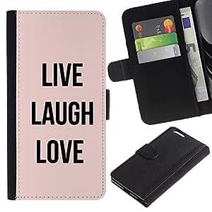 KLONGSHOP // Tirón de la caja Cartera de cuero con ranuras para tarjetas - live laugh texto amor melocotón motivación - Apple Iphone 6 PLUS 5.5 //