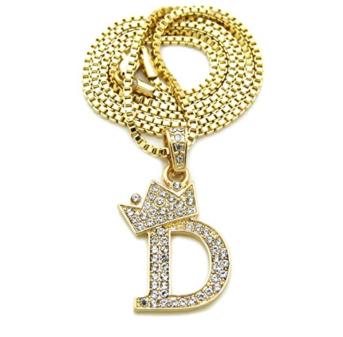 """Unisex Small Size Pave Crown Tilted Initial Alphabet Letter Pendant 2mm 24"""" Box Chain Necklace in Gold, Silver Tone (D - Gold Tone)"""