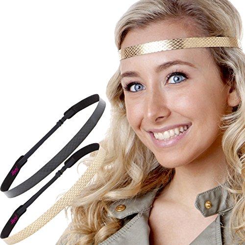 Hipsy Women's Adjustable NON SLIP Skinny Animal Print Headband Multi 2pk (Black Snake & Gold Snake)]()