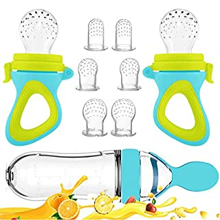 Baby Food Feeder, Fresh Food - 2 Pack Fruit Feeder Pacifier, 6 Different Sized Silicone Teething Pacifiers | 1 Pack Baby Food Dispensing Spoon | Baby Fruit Teether | Baby Feeding Set (Blue)