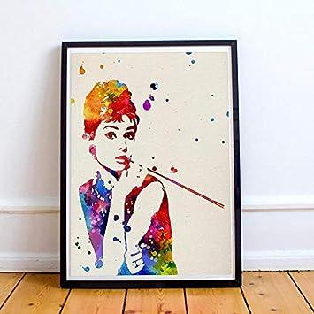 Nacnic Audrey Hepburn Film pour Framing Laminas D?coration Murale Papier de Haute Qualit? 250?grammes Creative Cadeau pour Fille Feuilles Aquarelle Style