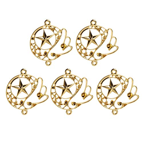 Misright Open Back Bezel Pendant,5Pcs Magic Wing Star Blank Resin Frame Pendant Open Bezel Setting Jewelry Making