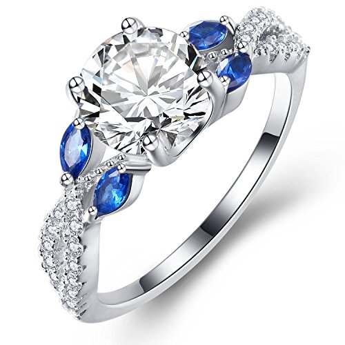 - Vibrille Luxe Willow Sterling Silver Diamond CZ Cubic Zirconia Engagement Ring for Women Size 9
