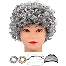Hestya 6 Pieces Old Lady Grandma Granny Wig Cosplay Accessories for Dress Up