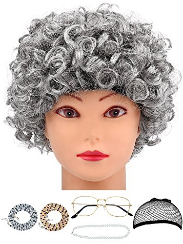 Hestya 6 Pieces Old Lady Costume Granny Wig Accessories for Dress Up (Style Set 3)]()