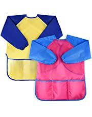 KUUQA 2 Piece Waterproof Children's Art Smock Kids Art Aprons with Long Sleeve 3 Roomy Pockets,Art Painting Supplies (Paints and brushes not included)
