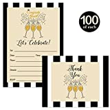 Graduation Invitations and Thank You Notes ( 100 of Each ) with Envelopes Champagne Bubbly Matching Set Folded Blank Thank You Cards Fill-In Party Invites College High School Grad Excellent Value Pair
