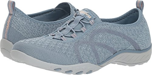 Skechers Relaxed Fit Breathe Easy Fortune Knit Womens Bungee Sneakers Blue 8.5
