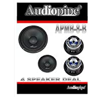 (4) AUDIOPIPE APMB-8-B 8 FULL RANGE CAR AUDIO DJ LOUDSPEAKER LOW-MID RANGE