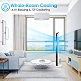 Tower Fan - 43 Inch Bladeless Oscillating Quiet Fan w/Remote Control, 3 Mode 3 Speed & 7.5 Timer, Whole Room Air Circulator Standing Fan for Bedroom Living Room Home Office Use