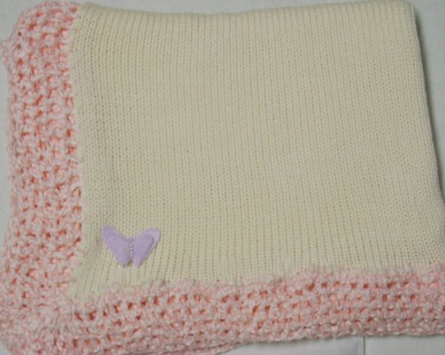 Knitted on Hand Knitting Machine Ivory Cotton Hand Crochet Finished with Pink Rayon Chenille Infant Girls Large Blanket Size 32 By 45 Inches Trimmed with Lilac Velvet Rhinestone Butterfly