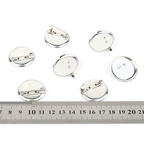 Silver Metal Brooch Round Clasps Pin Disk Findings Supplies Base Plate Craft DIY Pack of 50 (1 1/5(30mm))