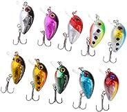 10pcs Fishing Lure Set Plastic CrankBaits Artificial Fishing Lure Micro Hard Lure Bait with Treble Hook