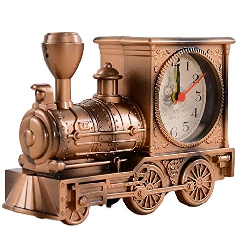 Wemet Novelty Alarm Clocks Retro Train Locomotive Alarm Clock Battery Operated Creative Student Kids Bells Vintage Antique Desktop Ornaments Gift (Brown)