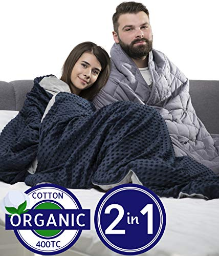 TBI Pro [New 2019] Super Soft Weighted Blanket with Organic Natural Cotton for Adults | Premium Softness, Glass Beads | Rhomb Shape Heavy Blanket | Beautiful Storage Bag (60x80 in (Queen) 20 LBS)