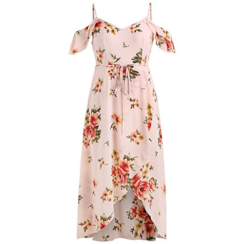 Price comparison product image TnaIolral Hot! Women Boho Dresses Short Sleeve Cold Shoulder Flower Print Skirt Pink
