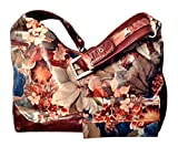 Argentinian Leather Floral Shoulder Bag with Matching Clutch Wallet