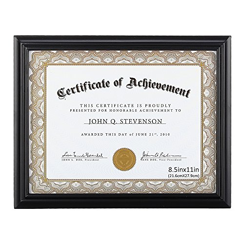 (RPJC Document Frame/Certificate Frames Made of Solid Wood High Definition Glass and Display Certificates 8.5x11 Inch Standard Paper Frame Black)