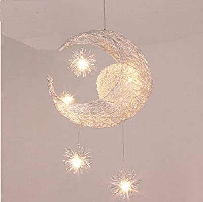 Nilight Creative Moon and Stars Children Bedroom Living Room Ceiling Light Pendant Hanging Lamp Chandelier