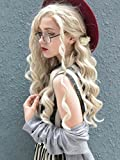 Imstyle Blonde Wigs For Women Ash Blonde Lace Front Wigs Synthetic Long Wave Platinum Blonde Wigs With Heat Resistant Hair 24 inches