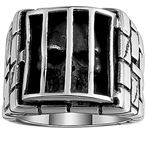 XAHH Men's Stainless Steel Classic Vintage Punk Style Double Cross Prison Skull Head Ring,Silver Black Size 7