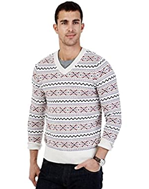 Men's Fair Isle V-Neck Sweater