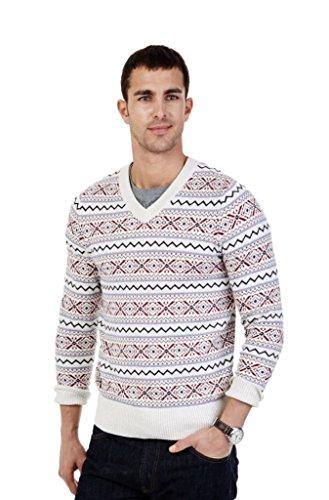 Nautica Fair Isle V-Neck Sweater, L, Oatmeal -