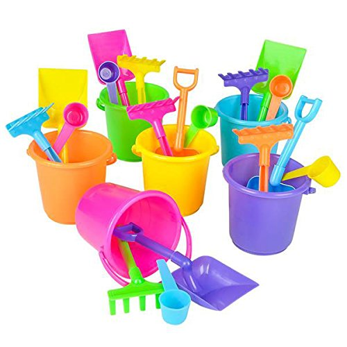 and Toys Set, Pails Buckets Shovels Rakes and Scoops, Assorted Colors, Beach Toys for Kids Boys Girls, By (Pink Mini Pails)