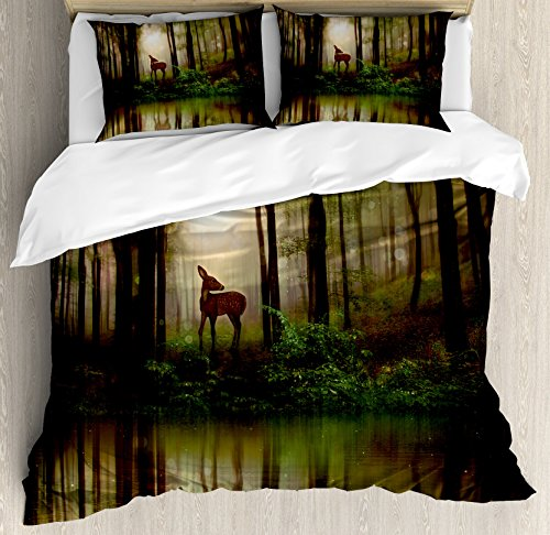 Ambesonne Nature Duvet Cover Set King Size, Baby Deer in The Forest with Reflection on Lake Foggy Woodland Graphic, Decorative 3 Piece Bedding Set with 2 Pillow Shams, Green Cocoa ()