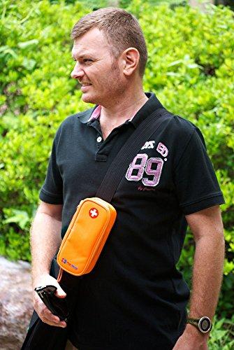 PracMedic- Epipen Carrying Case or Insulin Case - Premium Quality with YKK Zipper - fits Epi Pens, generic Benadryl, Asthma Inhaler, Nasal Spray, Eye Drops, Syringes, Vials, Ice Packs - Orange by PracMedic Bags (Image #5)