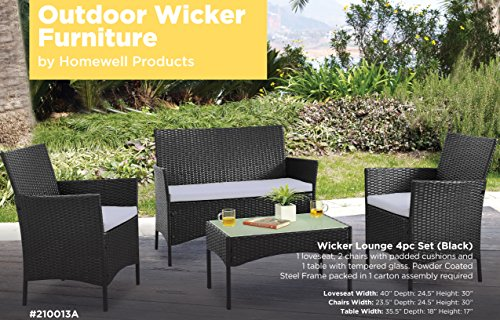Homewell-4pc-Wicker-Patio-Furniture-Set-Cushioned-Loveseat-Chairs-Table-for-Dining-Lounge