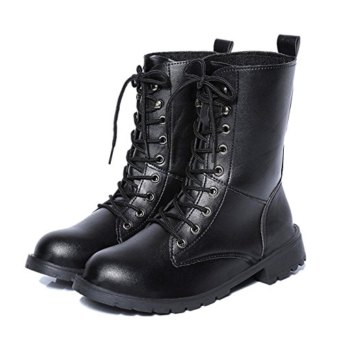 CIOR FANTINY Combat Boots Women's Martin Rivets Lace Up Military Mid-Calf Booties