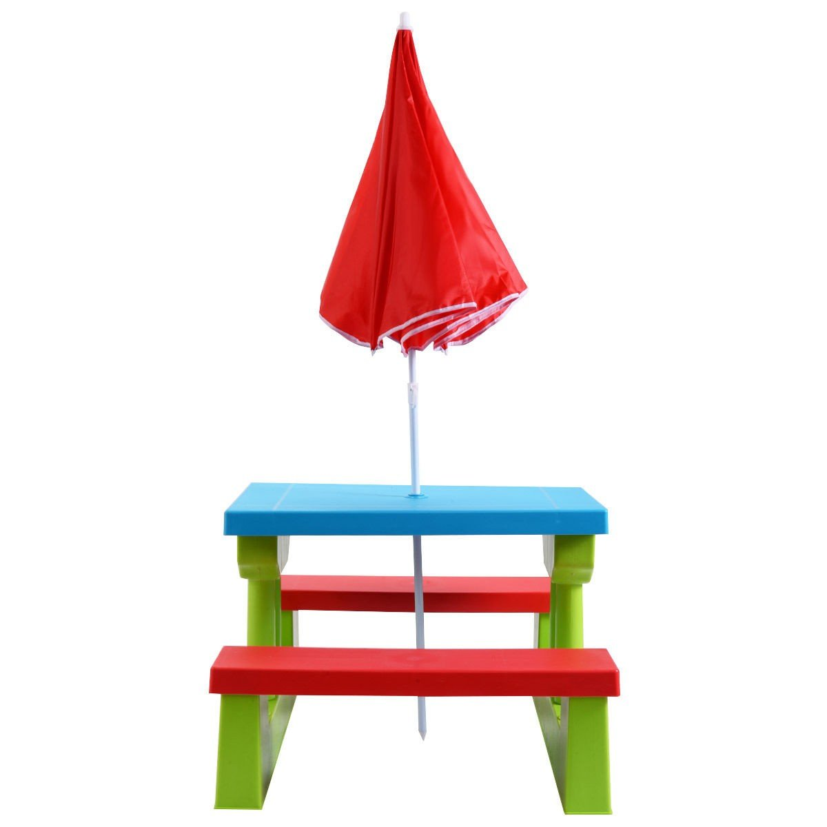 Kids Picnic Folding Table and Bench with Umbrella - By Choice Products