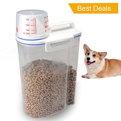 TIOVERY Pet Food Plastic Storage Container Dispenser with Graduated Cup and Seal Buckles for Dogs Cats Birds