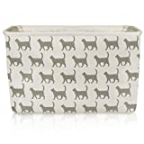 White Cat Canvas Storage Basket - High Quality Rectangle Fabric Basket with Grey Cat Pattern - Perfect for Household Storage, Fabrics or Toys. Size: 40cms x 30cms x 25cms