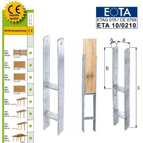 H-Pfostenträger CE-Kennzeichen 91x600mm Anker Pfostenschuh Carport Pfostenanker