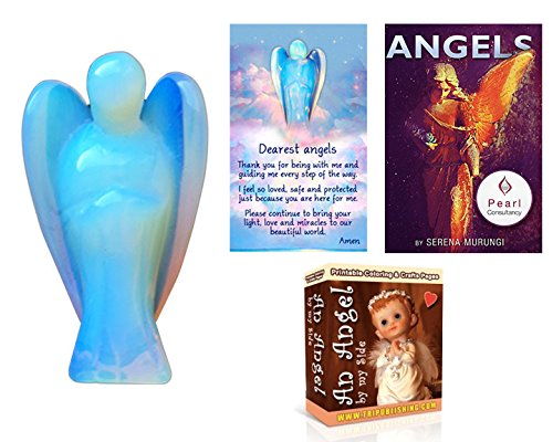 Opalite Angel Statue with Prayer Card Plus Angel E Book & Coloring E Book Twin Set - Opalite Blue Crystal-1.75 inches - Pocket Size Protective Figurine - Money Back (Where To Buy Angel Wings)