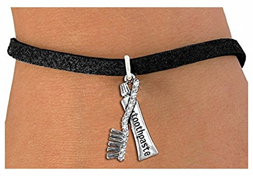 Price comparison product image Antiqued Silver Tone with Crystal Toothbrush & Toothpaste Charm Bracelet - Black Suede Leatherette - 7 1/2 Inches With 3 Inch Extender