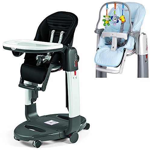 Peg Perego Black Stripes Tatamia High Chair with Kit, Azzuro