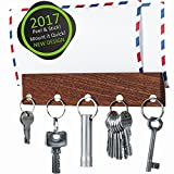 Magnetic Key Holder & Mail Organizer | Premium Walnut Wood | Self Adhesive Key Rack | Magnetic Key Holder for Wall | Letter Holder | Magnetic Key Hook | 5 Very Strong Magnets | Innovative Design (Kitchen)