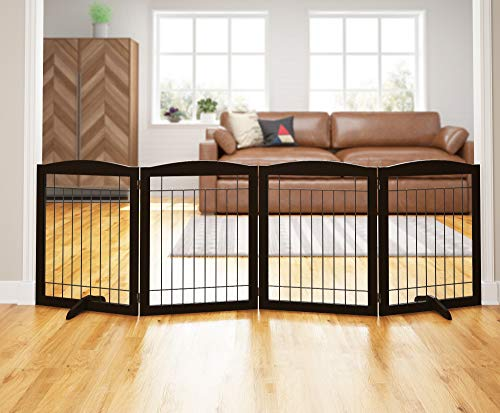 "PAWLAND 96-inch Extra Wide Dog gate for The House, Doorway, Stairs, Freestanding Foldable Wire Pet Gate, Set of Support Feet Included (Espresso, 30"" Height-4 Panels)"