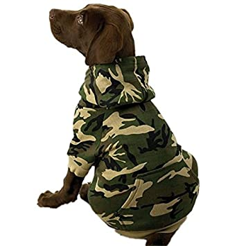 Cotton Camo Dog Hoodie Soft Fleece Pocket and Ribbed Sleeves x-small to xxl