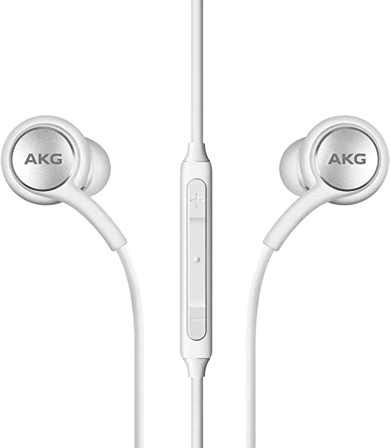 2019 Stereo Headphones for Samsung Galaxy S10 S10e S10 Plus - Designed by AKG - with Microphone (White)